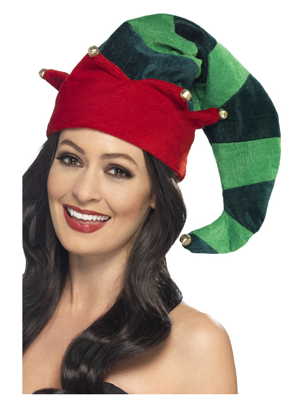 Plush Elf Hat, Green, with Bells