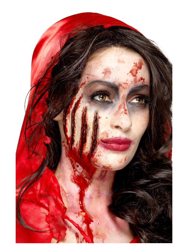 Smiffys Make-Up FX, Latex Claw Wound Scar, Red, with Adhesive