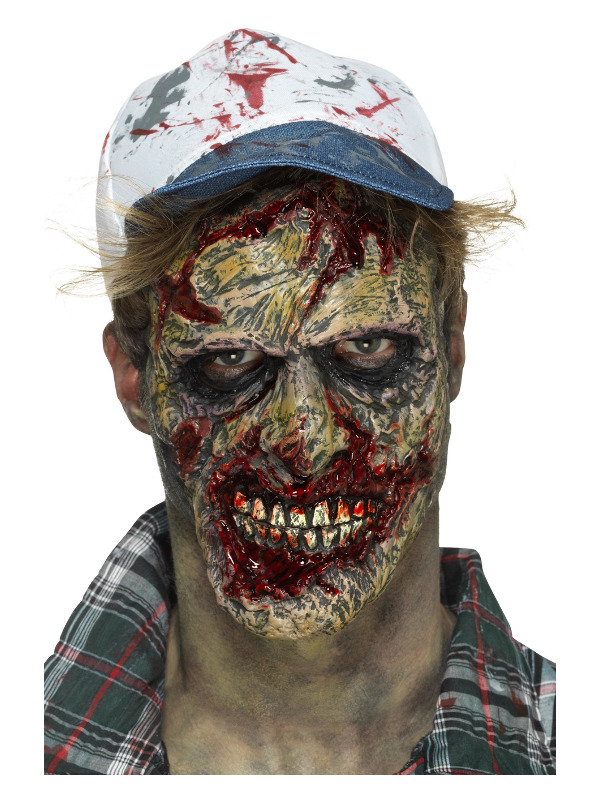 Smiffys Make-Up FX, Foam Latex Zombie Face Prosthetic, Brown, with Adhesive