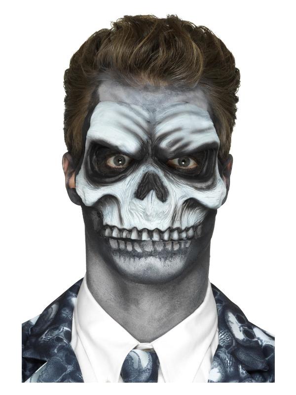 Smiffys Make-Up FX, Foam Latex Skull Head Prosthetic, White, with Adhesive