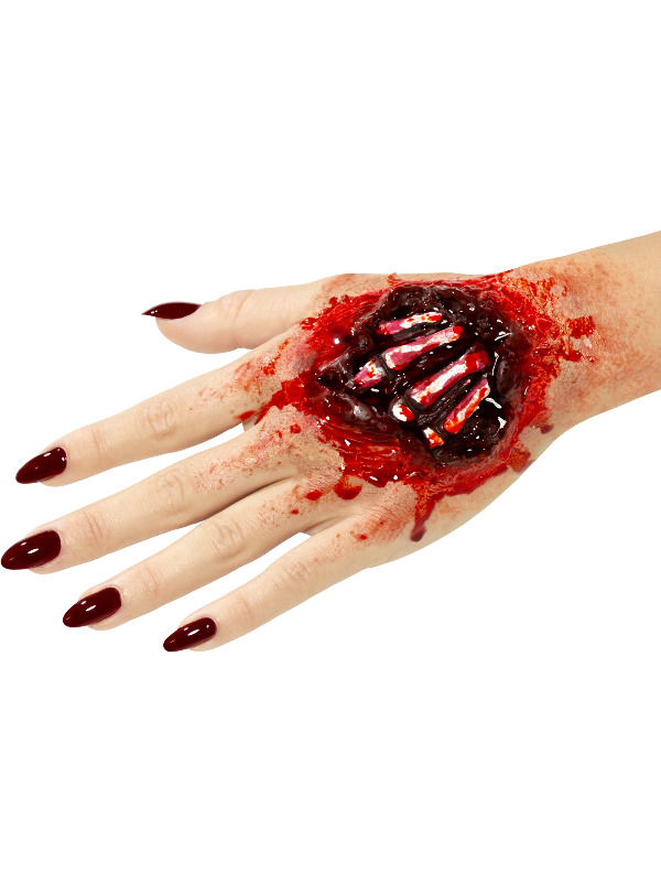Smiffys Make-Up FX, Latex Exposed Hand Bones Wound, Red, with Adhesive