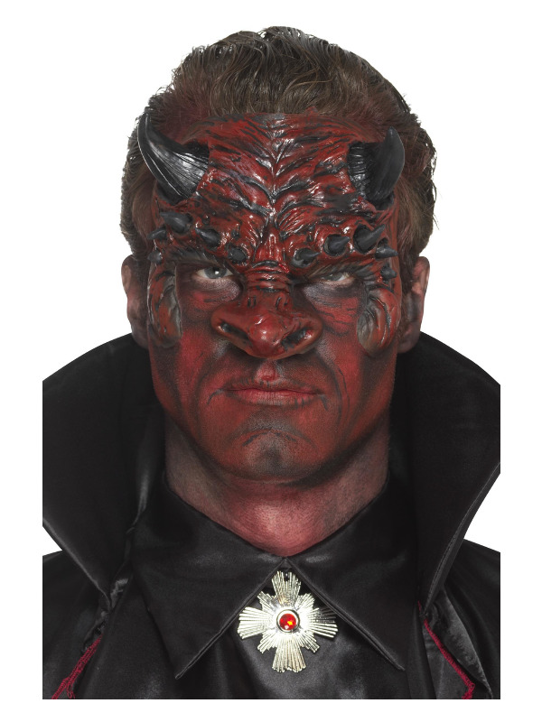 Smiffys Make-Up FX, Foam Latex Devil Head Prosthetic, Red, with Adhesive