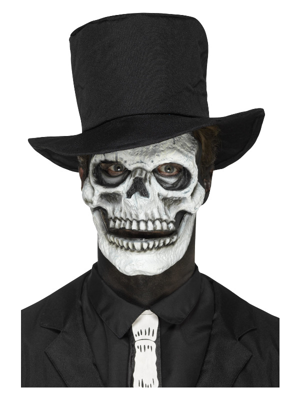Smiffys Make-Up FX, Foam Latex Skeleton Face Prosthetic, 2 Pieces with Movable Jaw, White, with Adhesive