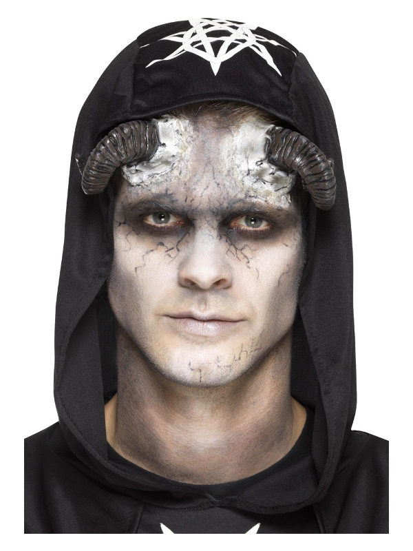 Smiffys Make-Up FX, Latex Demon Horn Prosthetics, Black, with Adhesive