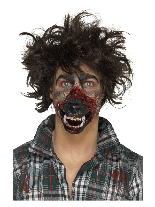 Smiffys Make-Up FX, Foam Latex Werewolf Mouth Prosthetic, Brown, with Adhesive