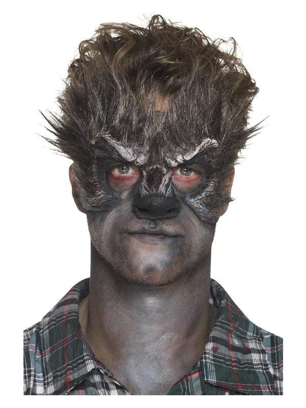 Smiffys Make-Up FX, Foam Latex Werewolf Head Prosthetic, Brown, with Adhesive