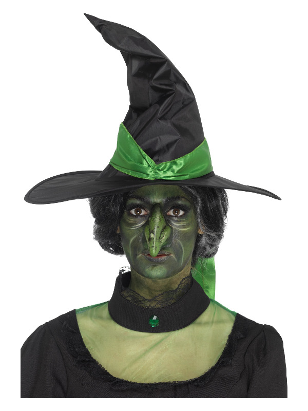 Smiffys Make-Up FX, Foam Latex Witch Nose Prosthetic, Green, with Adhesive