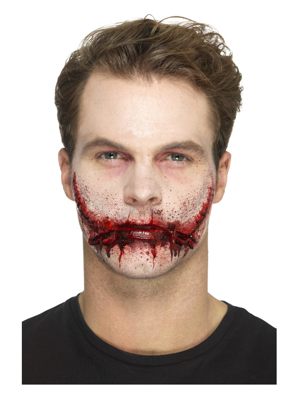 Smiffys Make-Up FX, Latex Stitched Smile Wounds, Red, with Adhesive
