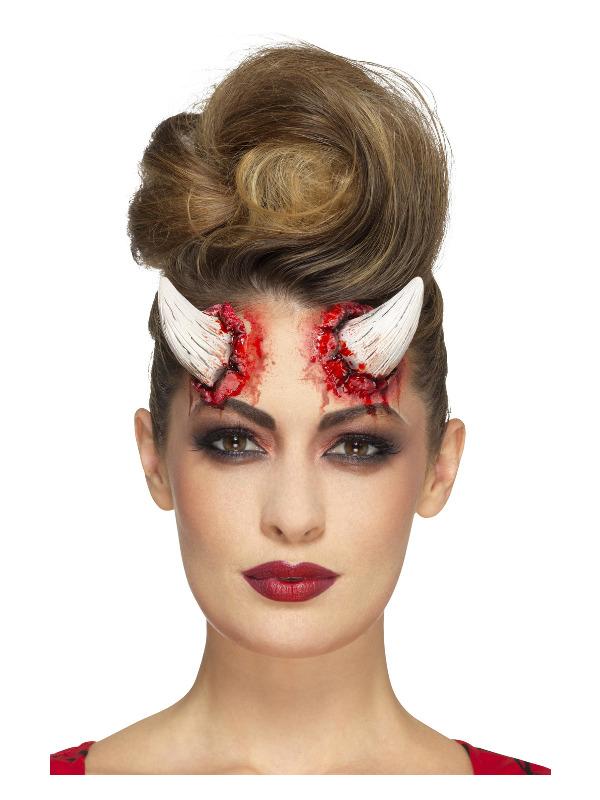 Smiffys Make-Up FX, Latex Devil Horn Prosthetics, Ivory, with Adhesive