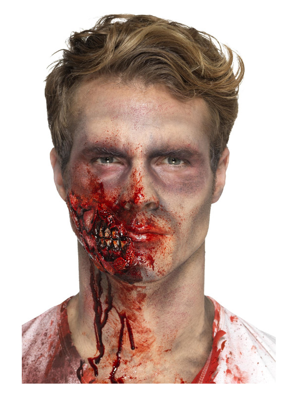 Smiffys Make-Up FX, Latex Zombie Jaw Prosthetic, Red, with Adhesive
