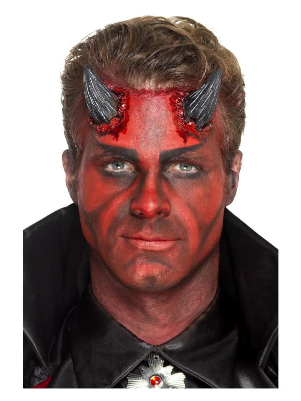 Smiffys Make-Up FX, Latex Devil Horn Prosthetics, Black, with Adhesive
