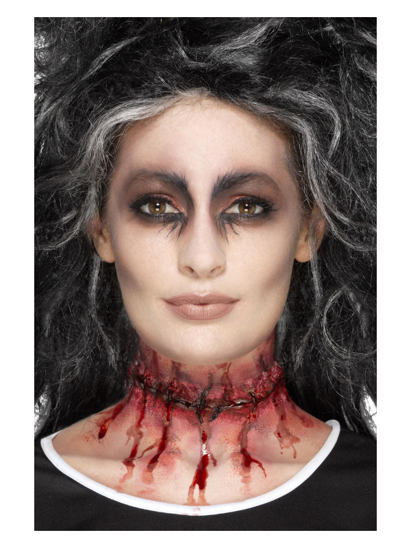 Smiffys Make-Up FX, Latex Stitched Neck Scar, Red, with Adhesive