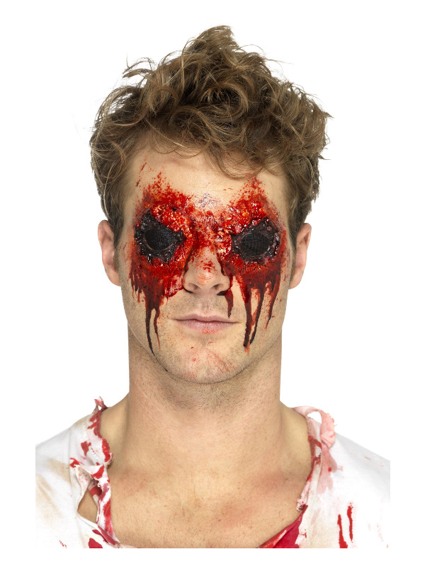 Smiffys Make-Up FX, Latex Zombie Eyes Prosthetic, Beige, with Blood & Adhesive