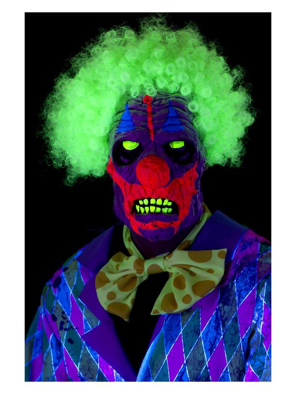 UV Black Light Clown Mask, Multi-Coloured, Latex, Overhead, with Hair
