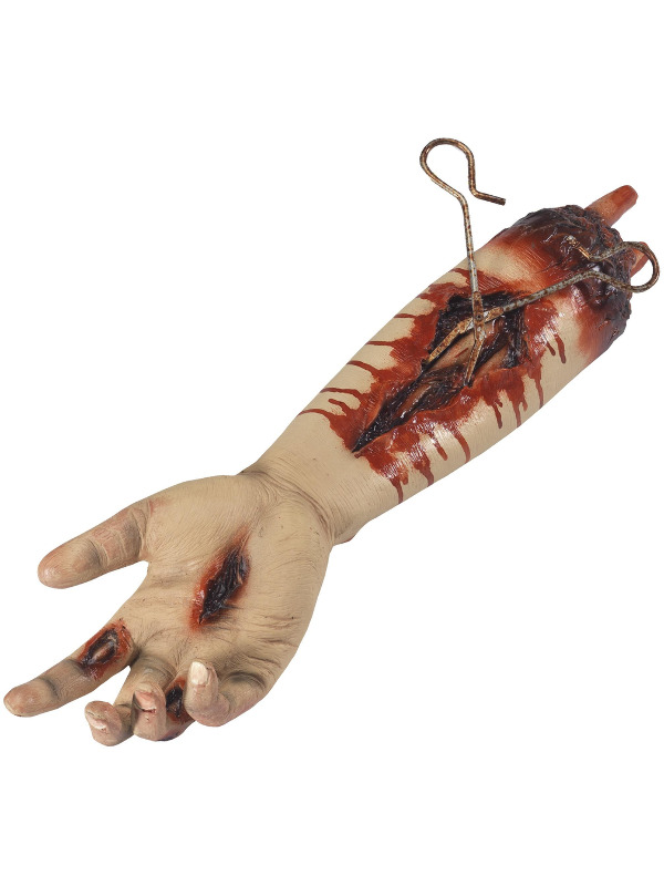 Animated Gory Severed Arm Prop, Natural, Pulsating, Metal Clamp & Twitching Finger, 45cm/17in