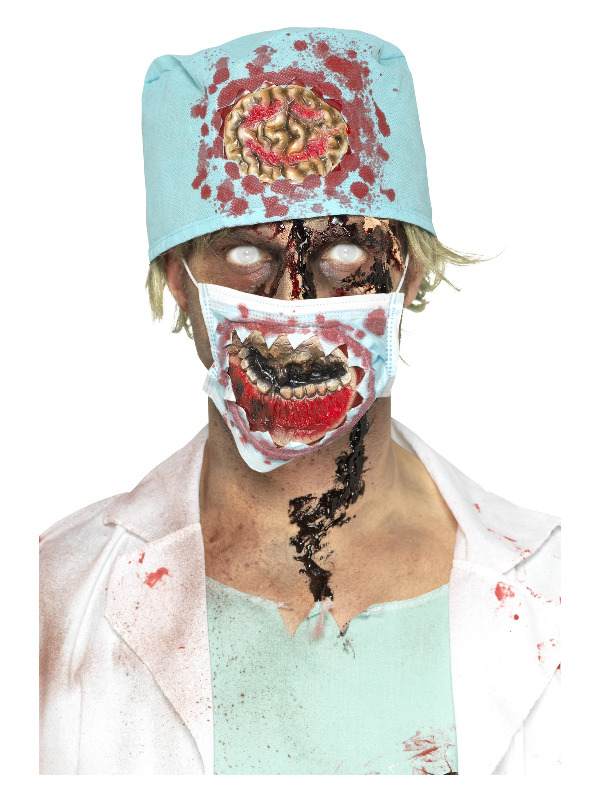 Zombie Surgeon Kit, Blue, with Latex Exposed Mouth Mask & Hat
