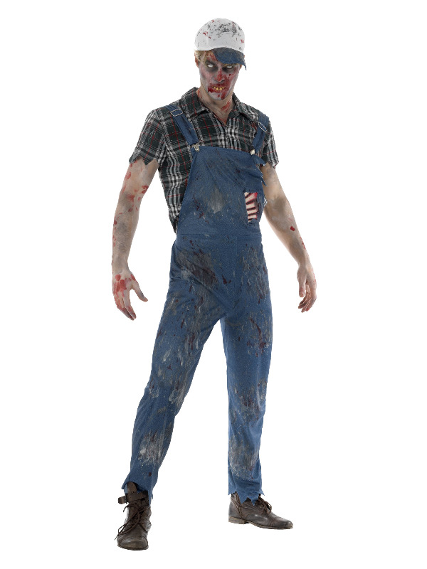 Zombie Hillbilly Costume, Male, Blue