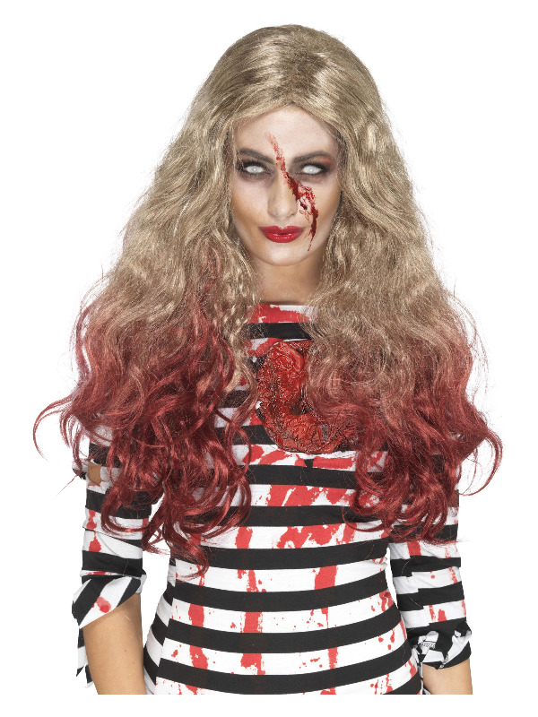 Deluxe Zombie Blood Drip Wig, Blonde & Red, Long & Wavy