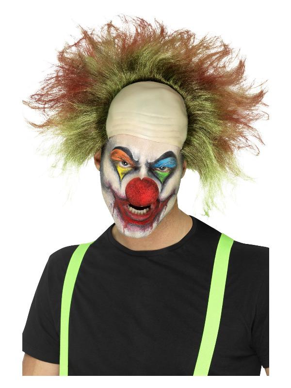 Sinister Clown Wig, Green, with Blood Splatter