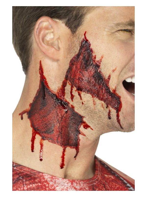 Smiffys Make-Up FX, Ripped Skin Tattoo Transfers, Red