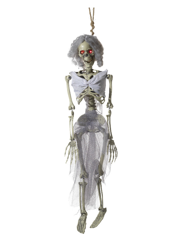 Animated Hanging Bride Skeleton Decoration, Natural, with Light Up Eyes, Sounds & Movement, 90cm/35inch