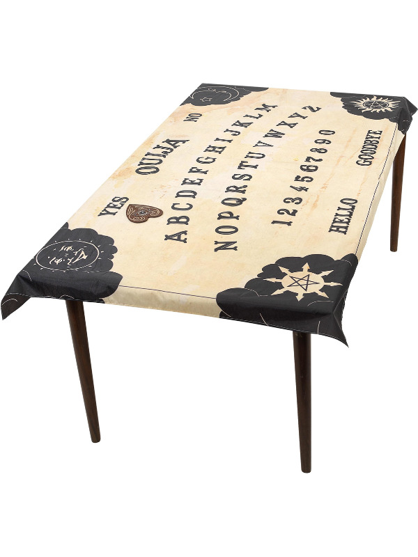Ouija Board Table Cloth & Planchette Coaster, Natural, 195x115cm / 77x45in