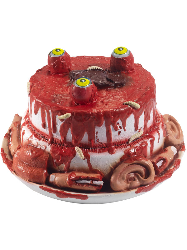 Latex Gory Gourmet Zombie Cake Prop, Red, with Moving Eyes, 25x25x14cm / 10x10x6inch