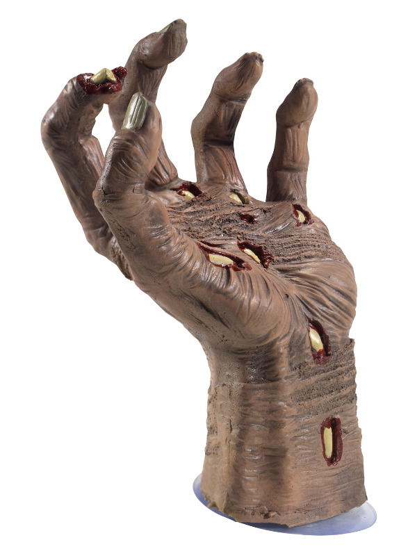 Latex Rotting Zombie Hand Prop, Natural, with Suction Attachment, 21x10cm / 8x4in