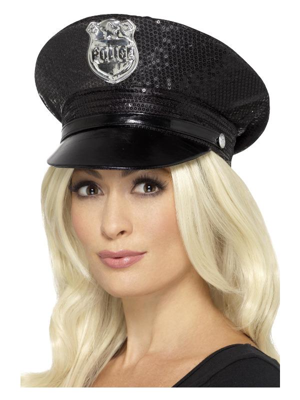 Fever Sequin Police Hat, Black