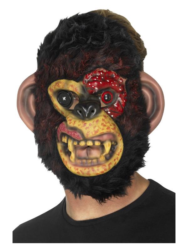 Zombie Chimp Mask, Black, EVA, with Fur