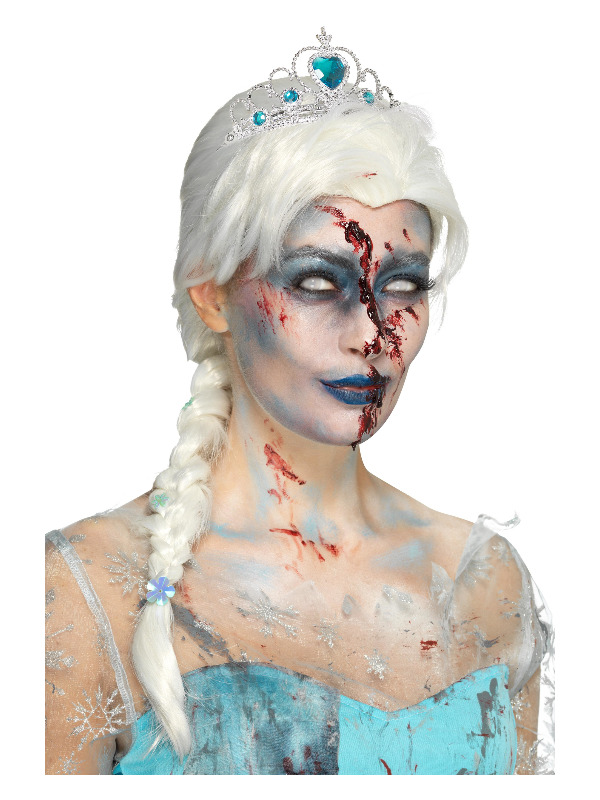 Zombie Froze To Death Wig, White, with Snowflake Jewels