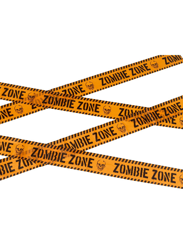 Zombie Zone Caution Tape, Orange & Black, 6m / 236in