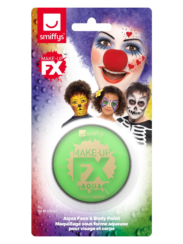 Smiffys Make-Up FX, on Display Card, Lime Green, Aqua Face and Body Paint, 16ml, Water Based