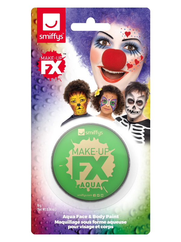 Smiffys Make-Up FX, on Display Card, Bright Green, Aqua Face and Body Paint, 16ml, Water Based