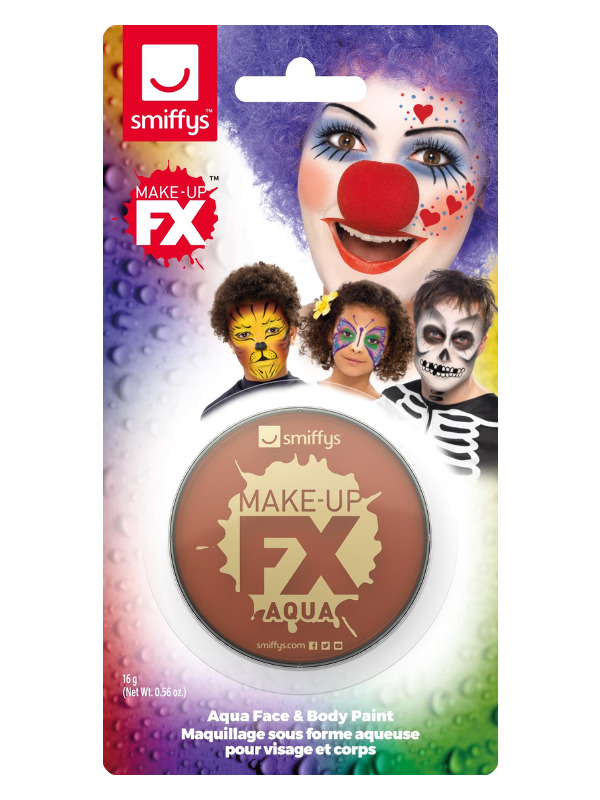 Smiffys Make-Up FX, on Display Card, Light Brown, Aqua Face and Body Paint, 16ml, Water Based