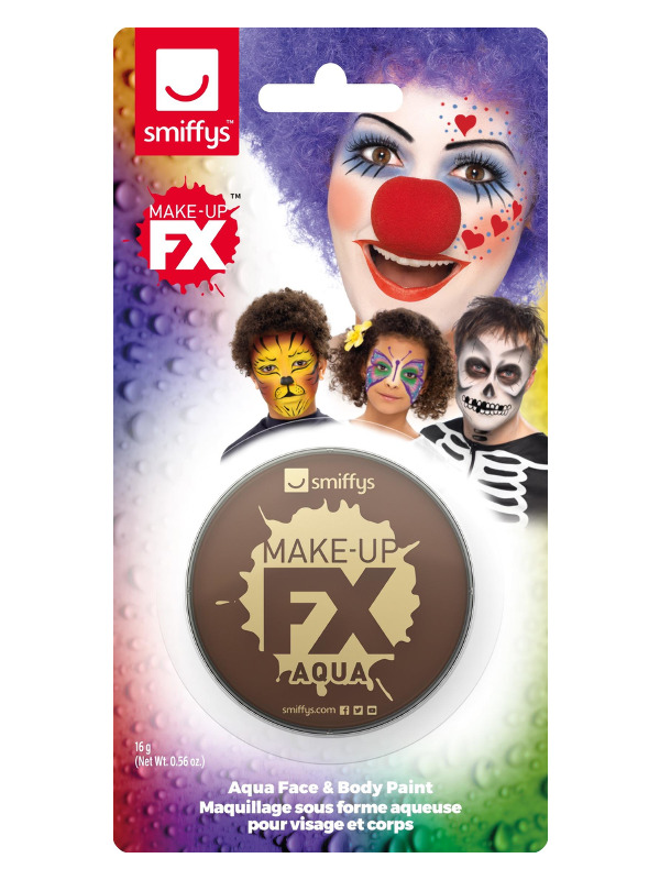 Smiffys Make-Up FX, on Display Card, Dark Brown, Aqua Face and Body Paint, 16ml, Water Based