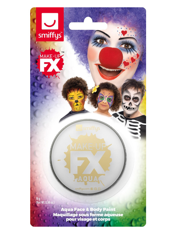 Smiffys Make-Up FX, on Display Card, White, Aqua Face and Body Paint, 16ml, Water Based
