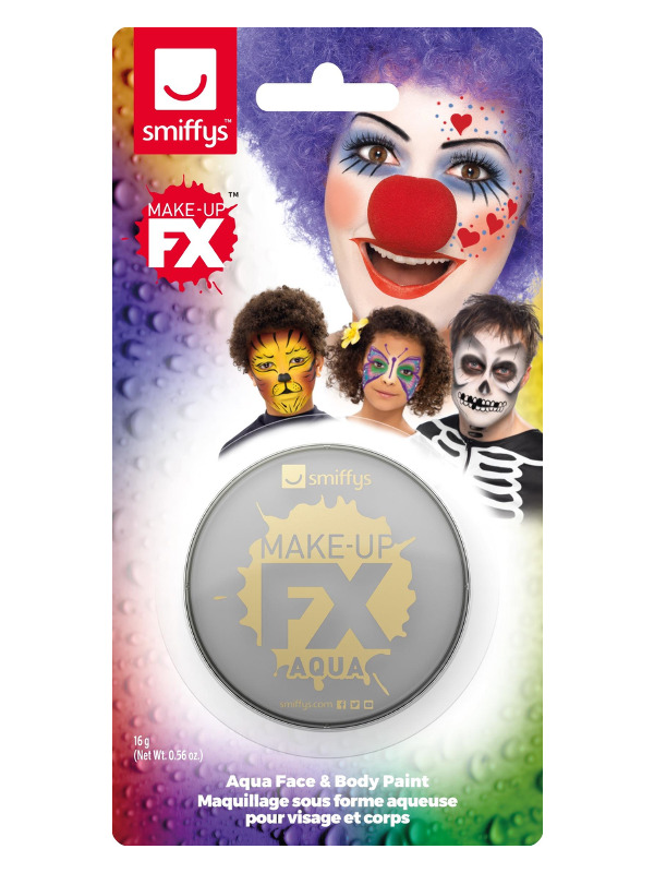 Smiffys Make-Up FX, on Display Card, Light Grey, Aqua Face and Body Paint, 16ml, Water Based