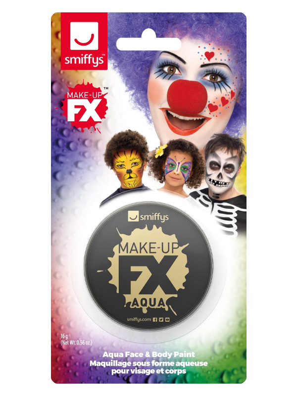 Smiffys Make-Up FX, on Display Card, Black, Aqua Face and Body Paint, 16ml, Water Based