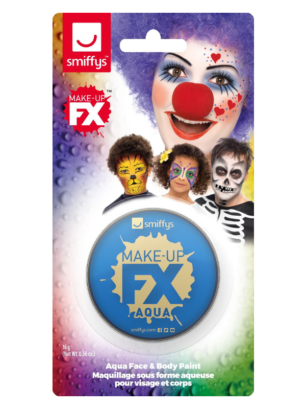 Smiffys Make-Up FX, on Display Card, Royal Blue, Aqua Face and Body Paint, 16ml, Water Based
