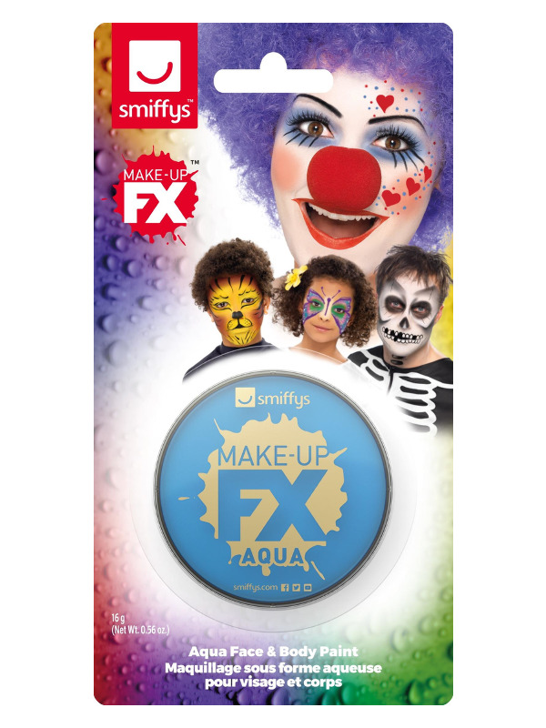 Smiffys Make-Up FX, on Display Card, Pale Blue, Aqua Face and Body Paint, 16ml, Water Based