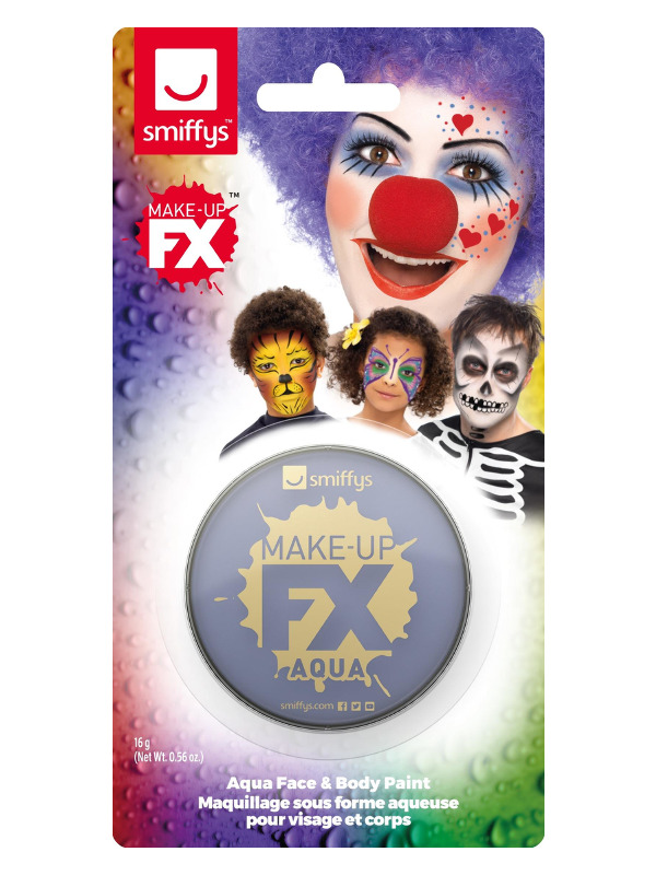 Smiffys Make-Up FX, on Display Card, Purple, Aqua Face and Body Paint, 16ml, Water Based