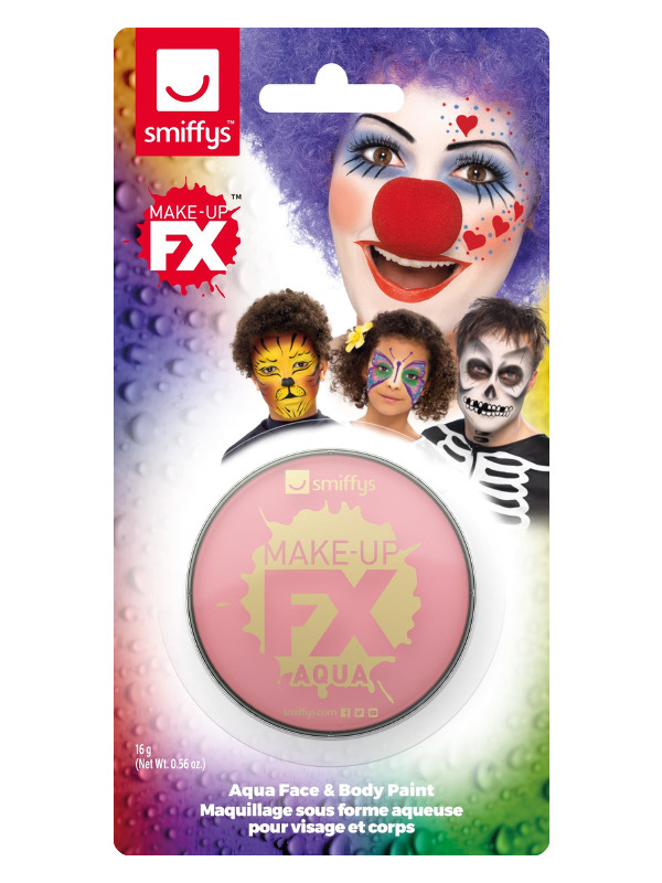 Smiffys Make-Up FX, on Display Card, Pink, Aqua Face and Body Paint, 16ml, Water Based