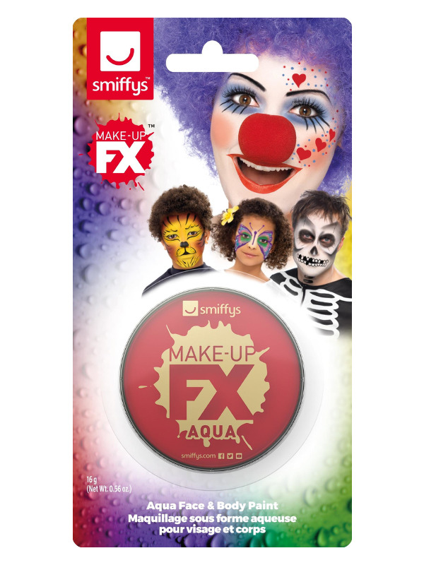 Smiffys Make-Up FX, on Display Card, Red, Aqua Face and Body Paint, 16ml, Water Based