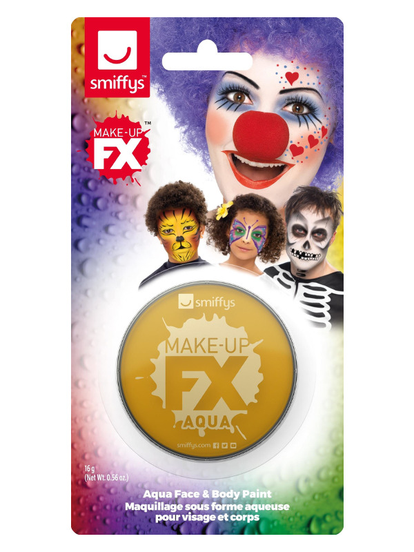 Smiffys Make-Up FX, on Display Card, Metallic Gold, Aqua Face and Body Paint, 16ml, Water Based