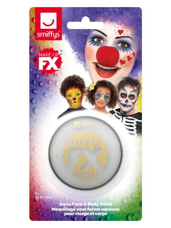 Smiffys Make-Up FX, on Display Card, Metallic Silver, Aqua Face and Body Paint, 16ml, Water Based
