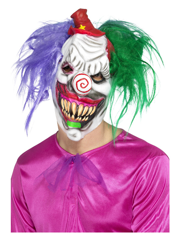 Kolorful Killer Klown Mask, Multi-Coloured, Latex, Full Overhead, with Hair