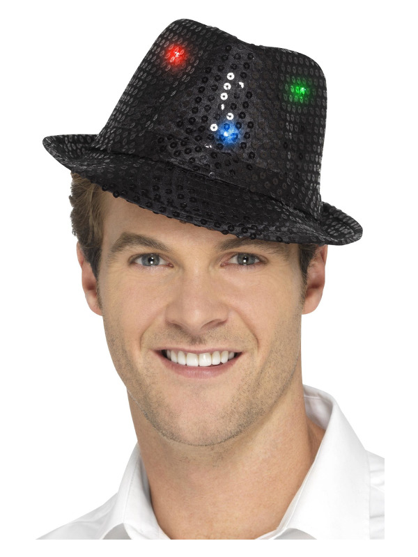 Light Up Sequin Trilby Hat, Black, with Multi-Function LED Lights
