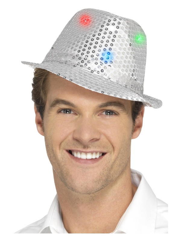 Light Up Sequin Trilby Hat, Silver, with Multi-Function LED Lights