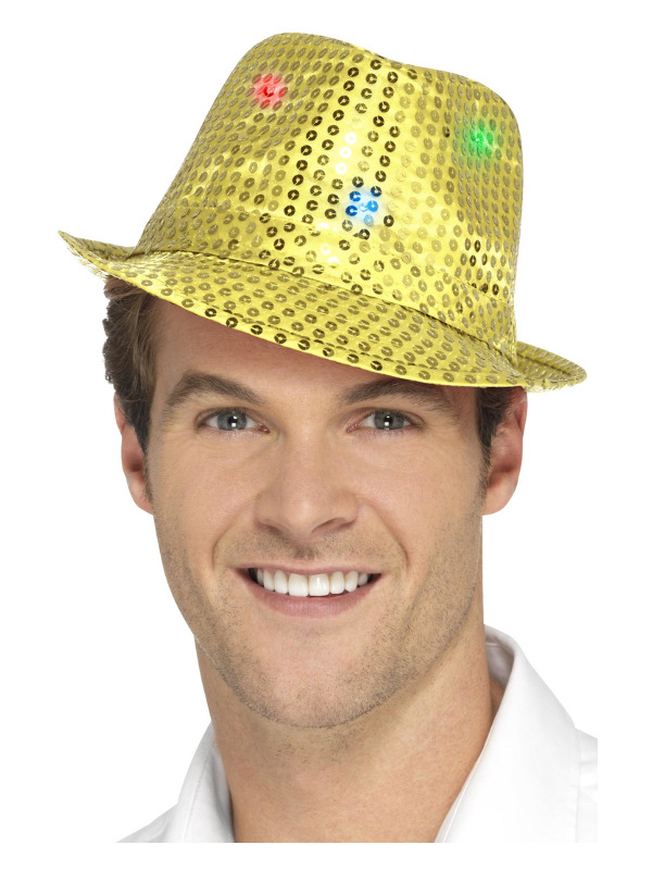 Light Up Sequin Trilby Hat, Gold, with Multi-Function LED Lights